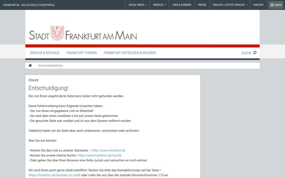Fehlerseite Frankfurt Webseite