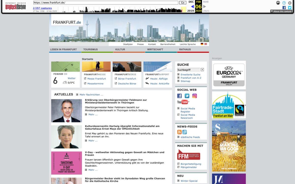 Webseite Frankfurt vor dem Relaunch