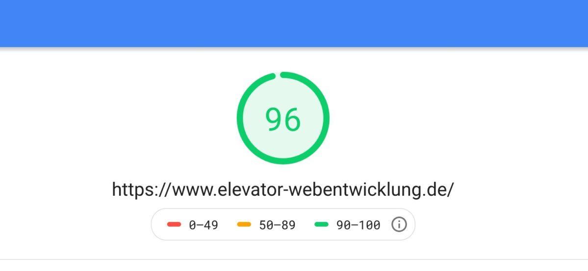 Google PageSpeed Ergebnis